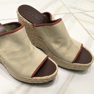 Marc Jacobs Beige Wedge Sandals Size 10 with Box